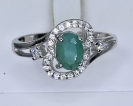 15.17 Crt Natural Emerald With Cubic Zirconia 925 Silver Ring