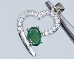 14.06 Crt Emerald With Cubic Zirconia 925 Silver Pendant