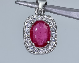 15.06 Crt Glass Filled Ruby With Cubic Zirconia 925 Silver Pendant