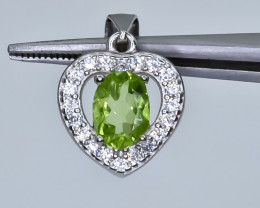 14.70 Crt Natural Peridot With Cubic Zirconia 925 Silver Pendant