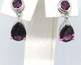 Rhodolite Garnet Earrings 3.00 TCW