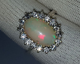Natural Multi Fire Opal CZ Ring 925 Sterling Silver