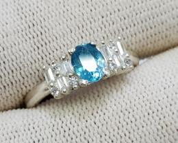 Natural Blue Zircon 17.55 Carats 925 Silver CZ Ring N10