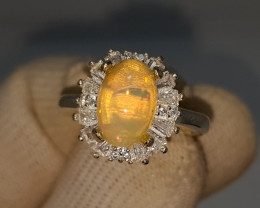 Natural Fire Opal 26.70 Carats 925 Silver CZ Ring I09