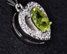 Natural Green Peridot 14.73 Cts CZ and  Silver Pendant