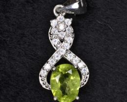 Natural Green Peridot 14.80 Cts CZ and  Silver Pendant