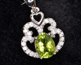 Natural Green Peridot 16.36 Cts CZ and  Silver Pendant