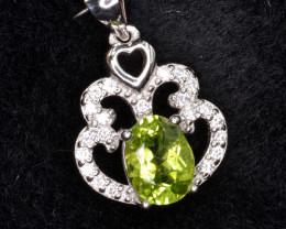 Natural Green Peridot 16.36 Cts CZ and  Silver Pendant