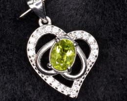 Natural Green Peridot 15.35 Cts CZ and  Silver Pendant