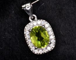 Natural Green Peridot 15.52 Cts CZ and  Silver Pendant