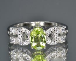 Natural Green Peridot 14.16 Cts CZ and  Silver Ring