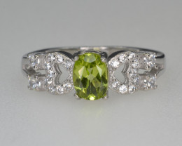 Natural Green Peridot 14.68 Cts CZ and  Silver Ring