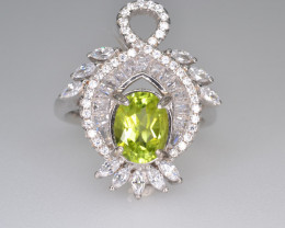 Natural Green Peridot 29.18 Cts CZ and  Silver Ring