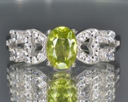 Natural Green Peridot 14.35 Cts CZ and  Silver Ring