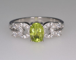 Natural Green Peridot 14.76 Cts CZ and  Silver Ring