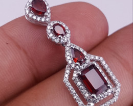 Natural Garnet with CZ Pendent