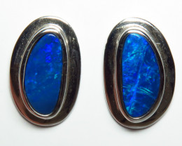 Boulder Doublet Opal 16 10mm Earrings Silver Bezel Set
