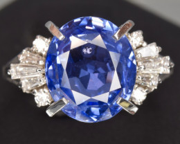 GIA Certified Untreated Natural Blue Sapphire, diamonds and platinum Ring