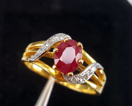 Natural Ruby Diamond Gold Ring.