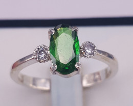 Natural Tasvorite and CZ Ring.