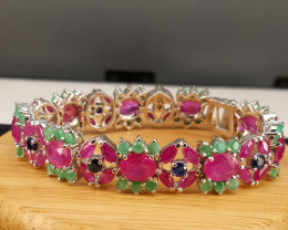 Natural Ruby,Emerald and Sapphire Bracelet.