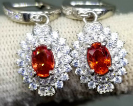 27.90ct Natural Songea Sapphire In 925 Sterling Silver Earrings.