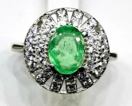 15.30 Natural Emerald In 925 Sterling Silver Ring.