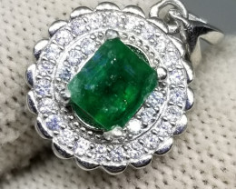 11.80Ct Natural Emerald in 925 Sterling Silver Pendant.