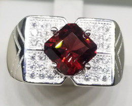 30.40ct Natural Malawi Garnet with CZ in 925 Sterling Silver Ring.