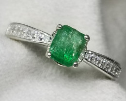 13.50ct Natural Emerald In 925 Sterling Silver Ring .
