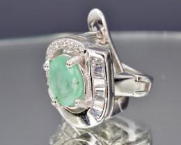 Zambian Natural Emerald, CZ and 925 Silver Earring, Elegant Design