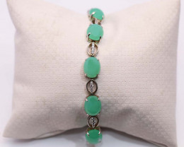 14K Gold Australian Chrysoprase Bracelete with diamonds  [CB1]