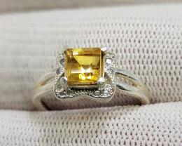 Natural Yellow Citrine 11.25 Carats 925 Silver Ring N12