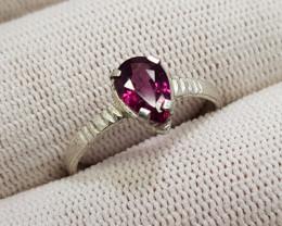 Natural Purple Rhodolite Garnet 6.75 Carats 925 Silver Ring I12