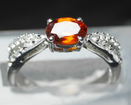 NATURAL RED GARNET  SHAPE 92.5 STERLING RING ( 6.75 US )