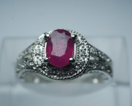 NATURAL HEATED RUBY OVAL  SHAPE 92.5 SILVER RING SIZE (6.25  US)