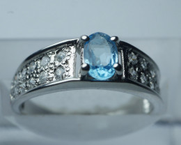 NATURAL BLUE TOPAZ CUSHION  SHAPE 92.5 SILVER RING SIZE (6.50 US)