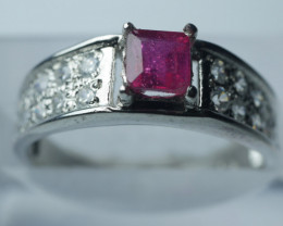 HEATED RUBY CUSHION  SHAPE 92.5 SILVER RING SIZE (6.50 US)