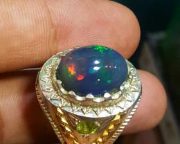 6.20 carat Natural Welo Fire Black Opal Men Ring.