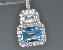 Natural Blue Topaz Silver Pendant