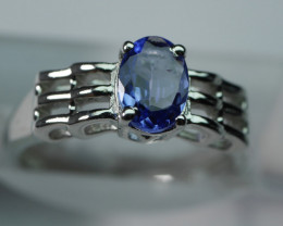 NATURAL TANZANITE OVAL  SHAPE 92.5 STERLING RING ( 6.50  US )