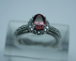 NATURAL TOURMALINE OVAL  SHAPE 92.5 STERLING RING ( 6.50 US )