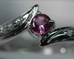 NATURAL TOURMALINE ROUND  SHAPE 92.5 STERLING RING ( 6.00 US )