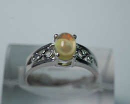 NATURAL OPAL OVAL  ROUND SHAPE 92.5 STERLING RING ( 7.25 US )