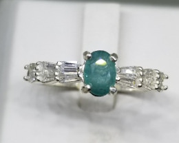 Natural Grandidierite With CZ in 925 Sterling Silver Ring.