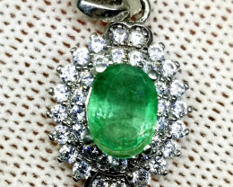 Natural Emerald With CZ in 925 Sterling Silver Pendant.