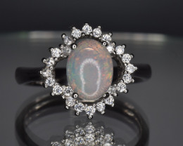Natural Opal, CZ and 925 Silver Ring
