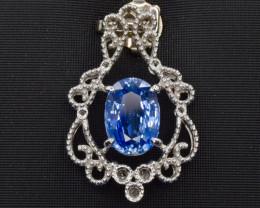 Platinum Natural Blue Sapphire Pendent