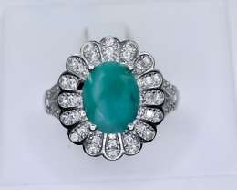 23.96 Crt Natural Emerald With Cubic Zirconia 925 Silver Ring