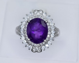 27.19 Crt Natural Amethyst With Cubic Zirconia 925 Silver Ring
